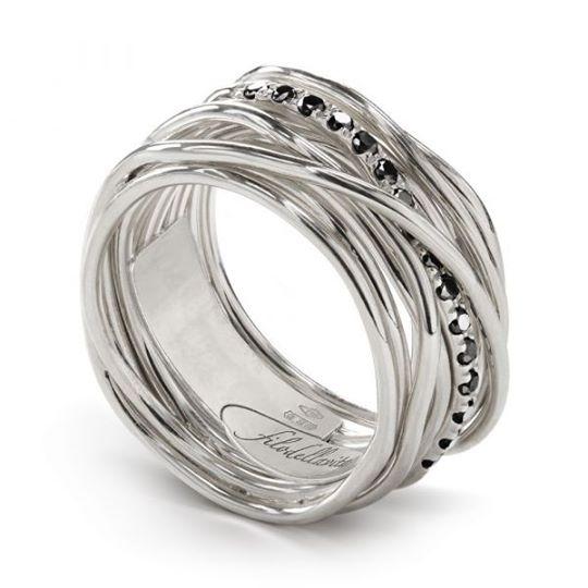 anello filodellavita classic 13 fili argento e diamanti neri