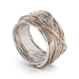 anello filodellavita classic 13 fili oro rosa argento e diamanti